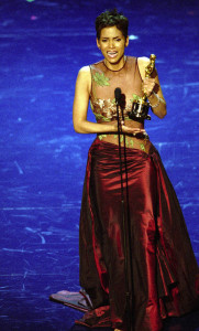 "Halle Berry makes an emotional acceptance speech after receiving the Best Actress for her role in ""monster's Ball,"" during the 74th Annual Academy Awards, Sunday March 24, 2002."